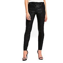 Wallis - Black snake textured trousers