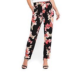 Wallis - Black tropical floral joggers