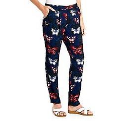 Wallis - Navy butterfly jogger trouser