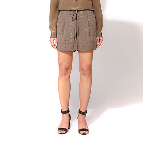 Wallis - W Collection - Khaki green embellished shorts