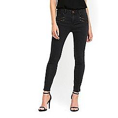 Wallis - Charcoal double zip jeans