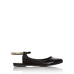 Wallis - Black ankle trim point ballerina