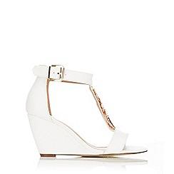 Wallis - White wedge  t-bar sandal