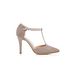Wallis - Grey studded t-bar shoe