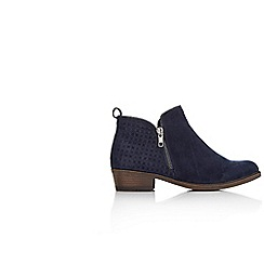Wallis - Navy side zip ankle boot