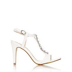 Wallis - White glass beaded t-bar sandal