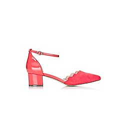 Wallis - Coral block heel court shoes