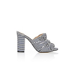 Wallis - Navy and white striped  mules