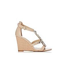 Wallis - Nude jewelled t-bar wedge sandal