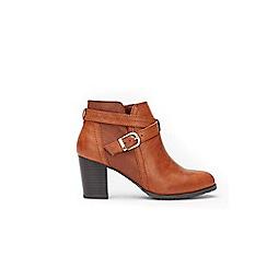 Wallis - Tan cross strap ankle boots