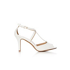 Wallis - White t-bar metal trim kitten heel