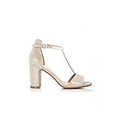 Wallis - Gold t-bar block heel sandal