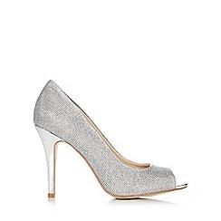 Wallis - Silver glitter peep toe court shoe