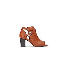 Wallis - Tan peep toe ankle boots