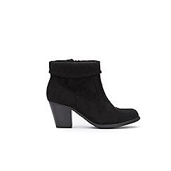 Wallis - Black fold down zip ankle boots