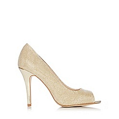 Wallis - Gold glitter peeptoe court shoe