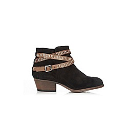 Wallis - Black studded strap ankle boots