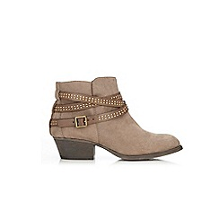 Wallis - Taupe studded strap ankle boots