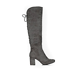 Wallis - Grey knee high lace up detail boots