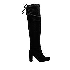 Wallis - Black over the knee velvet boots