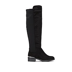 Wallis - Black low heel knee high boots