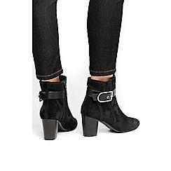 Wallis - Black belt buckle ankle strap boots