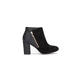 Wallis - Black side zip block heel ankle boots