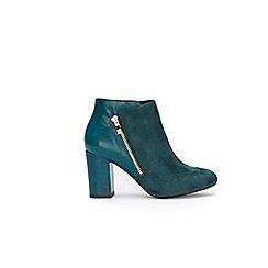Wallis - Green side zip block heel ankle boots