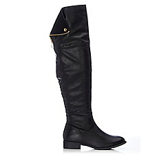 Wallis - Black cuff knee high boot