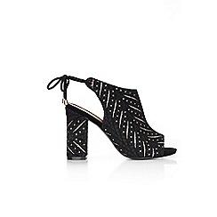 Wallis - Black lace block heel sandals