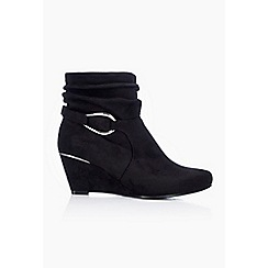 Wallis - Black wedge heel ankle boot
