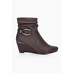 Wallis - Brown wedge heel ankle boot