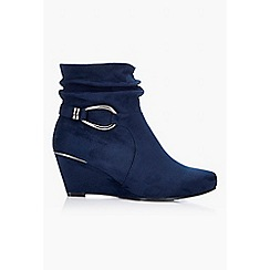 Wallis - Navy wedge heel ankle boot