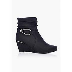 Wallis - Black leather look wedge boot