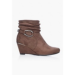 Wallis - Taupe wedge heel ankle boot