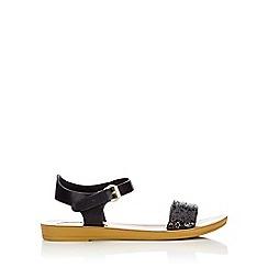 Wallis - Black glitter band flat sandal