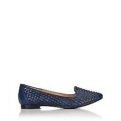 Wallis - Navy woven ballerina shoe