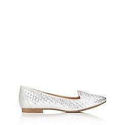 Wallis - Silver woven ballerina shoe