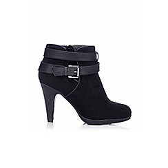 Wallis - Black platform ankle boot with straps