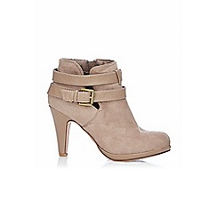 Wallis - Taupe platform ankle boot with strap