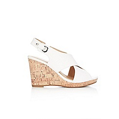 Wallis - White slingback wedge sandals