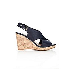 Wallis - Navy peep toe slingback wedge sandals