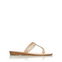 Wallis - Stone woven toe loop sandal