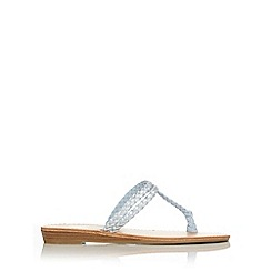 Wallis - Blue woven toe loop sandal