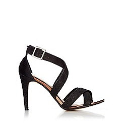 Wallis - Black cross strap glitter sandal