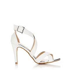 Wallis - Cream cross strap glitter sandal