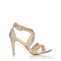 Wallis - Gold cross strap glitter sandal