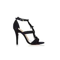 Wallis - Black fringed heeled sandal