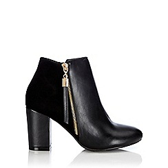 Wallis - Black mix material ankle boot