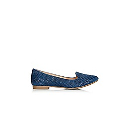 Wallis - Navy weave loafer shoes